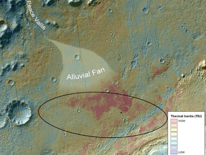 Carte en fausses couleurs montrant la zone à l'intérieur du cratère Gale où Curiosity a atterri le 5 août 2012. Elle fusionne les données topographiques avec les données d'inertie thermique qui enregistrent la capacité de la surface de s'accrocher à la chaleur. La couleur rouge indique un matériau de surface qui conserve sa chaleur plus tard dans la soirée, ce qui suggère des différences par rapport à son environnement.  On voit nettement les sédiments transportés et formant un éventail (alluvial fan) (Crédit: NASA / JPL-Caltech / ASU)