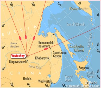 Emplacement du nouveau cosmodrome russe Vostochny (source russianspaceweb.com)