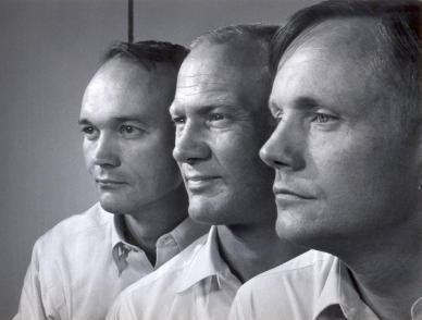 de gauche à droite : Michael Collins, Edwin Aldrin et Neil Amstrong