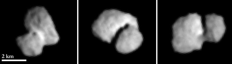 COMETE 67P LE 20 JUILLET 2014 Les trois images ont été prises à deux heures d'intervalle et ont une résolution d'environ 100 m par pixel. (Crédits: ESA / Rosetta / MPS pour OSIRIS équipe MPS / UPD / LAM / IAA / SSO / INTA / UPM / DASP / IDA)