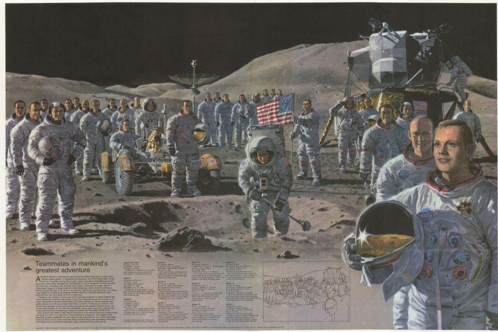 Tous les astronautes des missions Apollo en illustration (source National Geographic Society 1973)