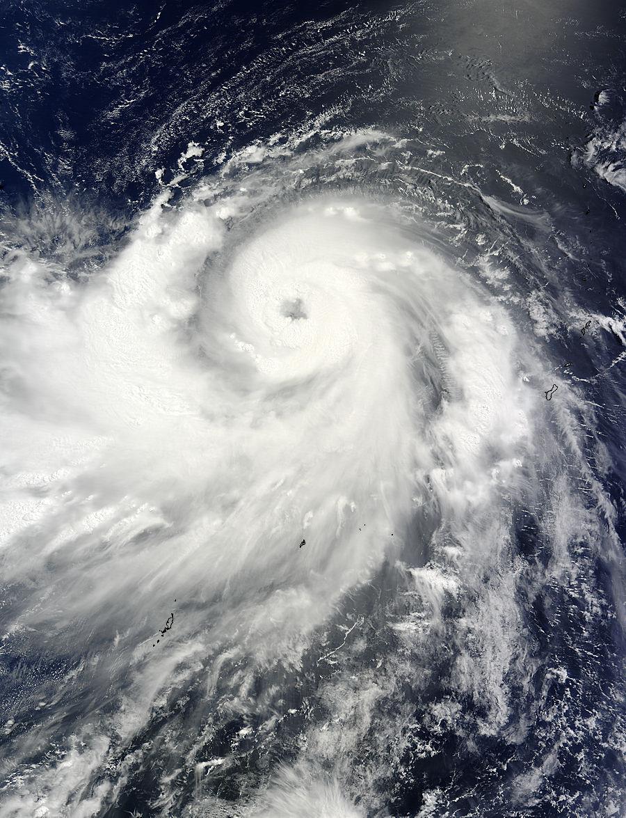 L'instrument MODIS à bord du satellite Terra de la NASA a capturé cette image du Typhon Neoguri le 5 Juillet à 01h20 UTC. (Image Credit: NASA Goddard MODIS Rapid Response Team)