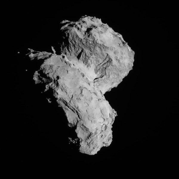 Image de Rosetta prise par la caméra de navigation NAVCAM le 22 Août 2014 à environ 64 km de la comète 67P/Churyumov-Gerasimenko. (© ESA/Rosetta/NAVCAM)