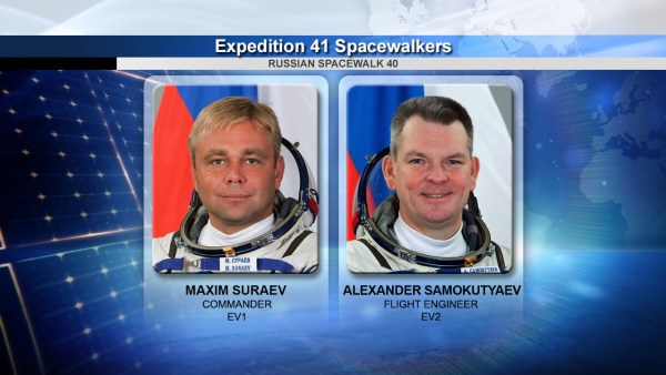 De gauche à droite, les cosmonautes Maxim Suraev et Alexander Samokutyaev qui effectueront l'EVA 40 (Credit: NASA TV)