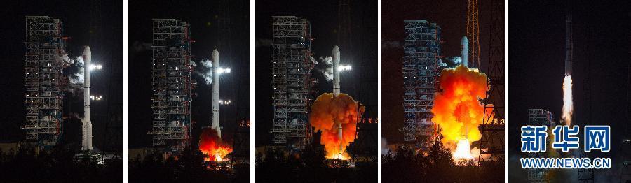 Un engin spatial non habité a été lancé au sommet d'une fusée long March-3C à partir du Centre de lancement de satellites de Xichang dans la province du Sichuan au sud-ouest de la Chine, le 24 octobre 2014 (Xinhua / Jiang Hongjing)