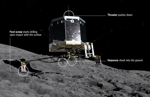 Au moment de l'atterrissage sur la comète 67P / Churyumov-Gerasimenko, le train d'atterrissage va absorber les forces de l'atterrissage alors que des vis dans chacun des pieds de la sonde et un système de harpon verrouilleront Philae à la surface. Dans le même temps, un propulseur sur le dessus de l'atterrisseur  le poussera vers le bas pour contrer l'impulsion du harpon transmise dans la direction opposée. (© ESA / ATG medialab)