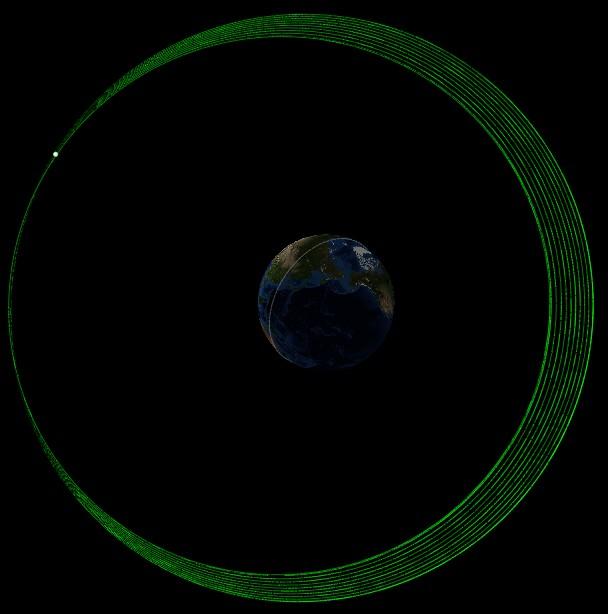 Le cinquième satellite Galileo de l'ESA a subi en novembre un esérie de maneouvres en vue d'augmenter le point le plus bas de son orbite (périgée) (credit ESA)