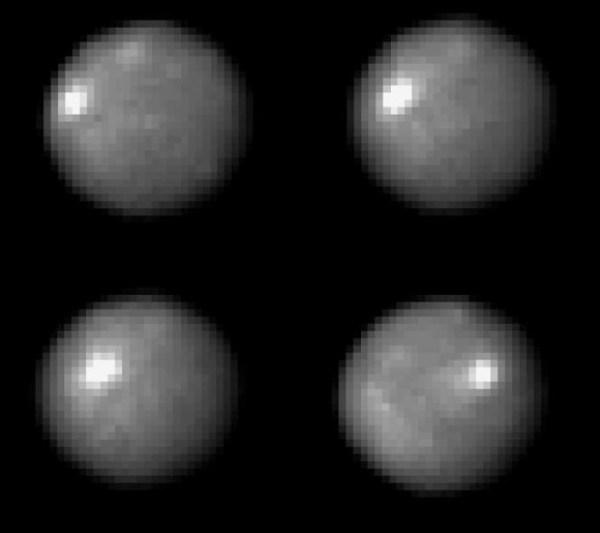 Images de Cérès par le télescope spatial Hubble en 2004. Credit: NASA/Hubble.