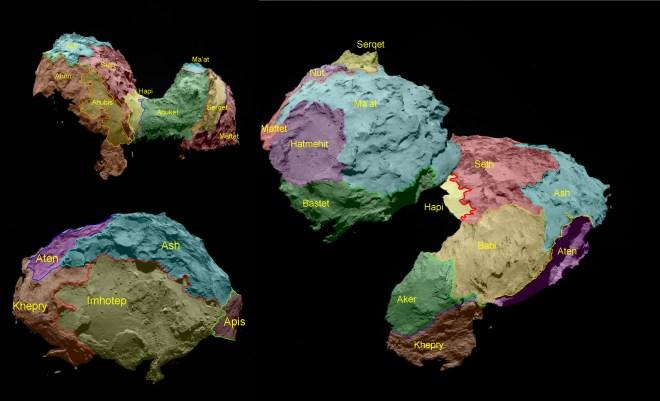 Les 19 régions identifiées sur 67P, regroupées par couleur selon le type de terrain. Crédit : ESA/Rosetta/MPS for OSIRIS Team MPS/UPD/LAM/IAA/SSO/INTA/UPM/DASP/IDA