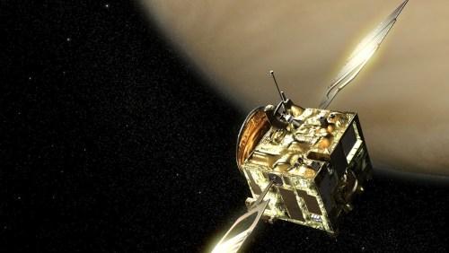 Image d'artiste montrant la sonde spatiale VENUS EXPRESS en orbite autour de Vénus. (Crédit: ESA)