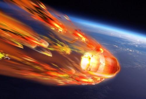Vue d'artiste de l rentrée atmosphérique de l'ATV-5 (Crédits: ESA-D. Ducros)
