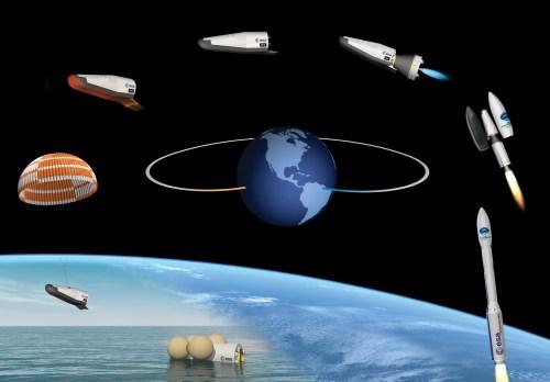 Vue d'artiste de la mission IXV : Le Intermediate eXperimental Vehicle (IXV) sera lancé par l'ESA en 2015 sur Vega, pour un vol suborbital, depuis la Guyane française. IXV reviendra sur Terre afin de tester les technologies de rentrée atmosphérique au cours de ses phases de vol hypersonique et supersonique. (ESA–J. Huart, 2014)