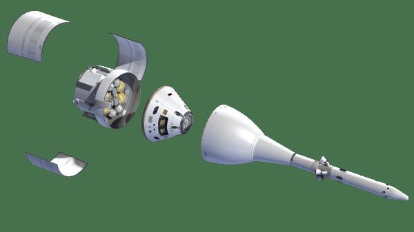 """L'ESA fournira le Module de Service européen derrière la capsule de l'équipage pour la mission d'exploration Orion. Pendant le lancement, le module est encapsulé par trois carénages, tandis que la capsule de l'équipage est couverte par le système """"d'abandon lancement"""" (Launch Abort System). (source ESA/NASA)"""