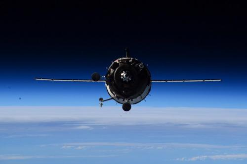 Le Soyouz TMA16-M en approche photographié par Terry Virts depuis l'ISS (credit NASA)