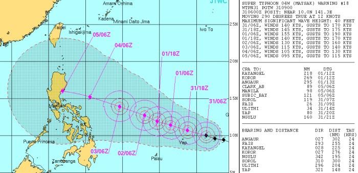"""Graphique montrant la route du typhon """"Maysak"""" à partir du mardi 31 mars, 2015. (source JTWC)"""