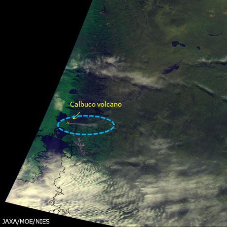 Panache de fumée du volcan Calbuco au Chili observé par GOSAT (source JAXA)