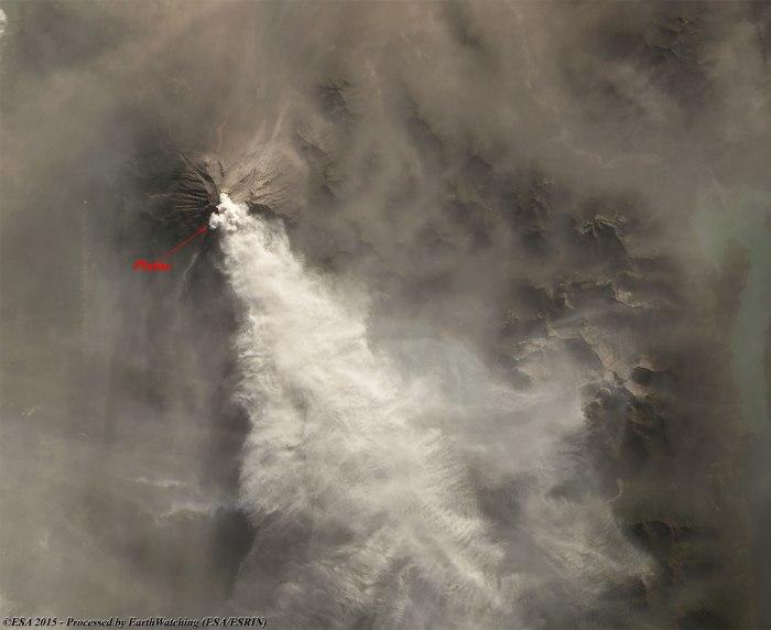 Images traitées par le satellite Landsat 8 acquise le 27 avril 2015 montrent l'activité du volcan : le grand panache est bien visible émergeant du cratère du volcan (source ESA)