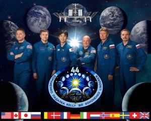 Expédition 44, de gauche à droite : (Kjell Lindgren (NASA), Oleg Kononenko (Roscosmos), Kimiya yui (JAXA), Scott Kelly (NASA), Gennady Padalka (Roscosmos), Mikhail Korniyenko (Roscosmos))