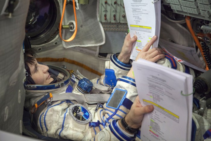Samantha Cristoforetti , ESA astronaut, seats in a model of Soyuz vehicle during training preparing her for flight into space. A European Space Agency (ESA) astronaut of Italian nationality, Samantha Cristoforetti is a Flight Engineer for Expedition 42 and 43 between December 2014 and May 2015. Samantha is a Captain in the Italian Air Force.