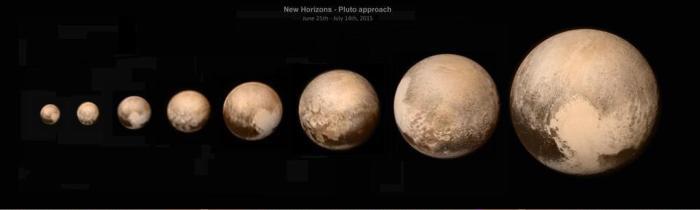 Photos de Pluton par New Horizons prises entre le 25 juin et le 14 juillet 2014 (credits NASA / JHUAPL / SWRI)