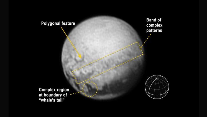 Image du 10/07/15 de la sonde New Horizons de la NASA et représentation des structures géologiques marquantes (source NASA - Tricia Talbert)