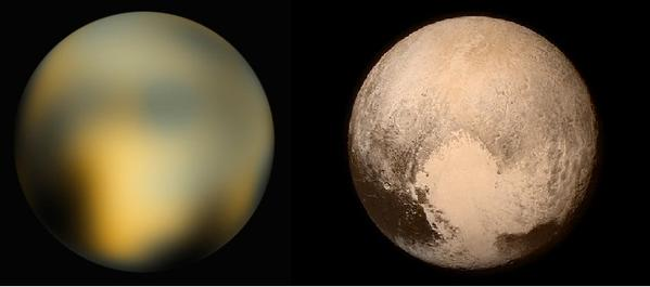 Images comparatives de Pluton entre celle de Hubble en 2010 et New Horizons du 14 juillet 2015 (crédits NASA)