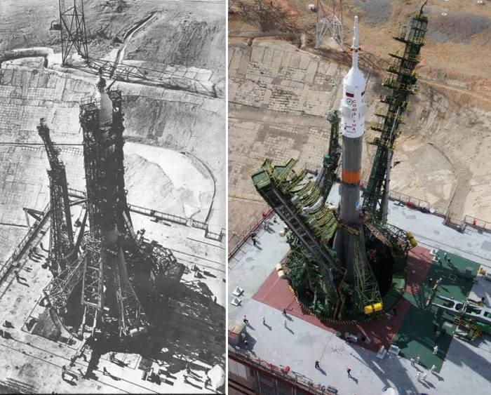 La Soyouz 11 en 1971 comparée à la Soyouz TMA-17M en juillet 2015 : la tour a été modernisée par exemple mais l'essentiel est identique (source Tezio Corteze)