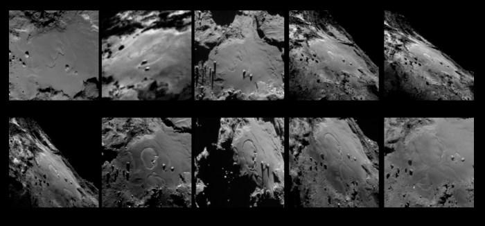 Séquence de dix images montrant les changements dans la région Imhotep sur la comète 67P / Chruymov-Gerasimenko. Les images ont été prises avec la caméra à angle étroit OSIRIS de Rosetta entre le 24 mai et le 11 Juillet à 2015. (© ESA/Rosetta/MPS for OSIRIS Team MPS/UPD/LAM/IAA/SSO/INTA/UPM/DASP/IDA)