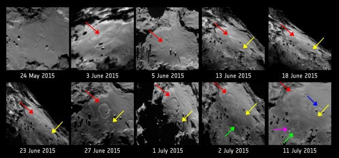 Version annotée de la séquence de dix images montrant les changements dans la région Imhotep sur la comète 67P / Chruymov-Gerasimenko. Les images ont été prises avec la caméra à angle étroit OSIRIS de Rosetta entre le 24 mai et le 11 Juillet à 2015. (© ESA/Rosetta/MPS for OSIRIS Team MPS/UPD/LAM/IAA/SSO/INTA/UPM/DASP/IDA)