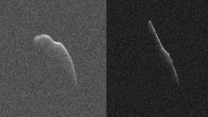 Ces images de l'astéroïde 2003 SD2020 qui est d'au moins 1100 m de long ont été prises le 17 décembre 2015, (à gauche) et 22 décembre (à droite) par des scientifiques à l'aide de l'antenne de 70 m du Deep Space Network de la NASA en Californie. (Crédits: NASA / JPL-Caltech / GSSR)