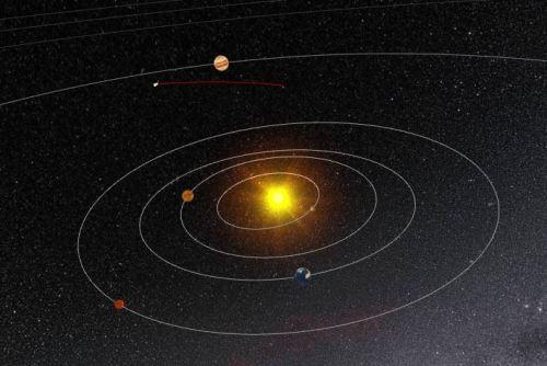 Position de la comète 67P et de Rosetta à fin septembre 2016 (au bout de la ligne rouge)(credit ESA)