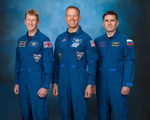 Tim Peake, Tim Kopra et Yuri Malenchenko de l'Expedition 47 (credit NASA)
