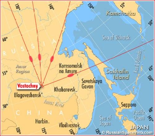Localisation du Cosmodrome de Vostochny (source Russianspaceweb)