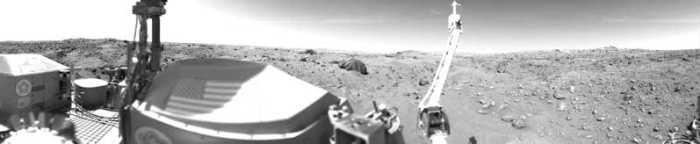 Premier panorama martien par l'atterrisseur Viking 1 le 23/07/1976 (credit NASA/JPL)