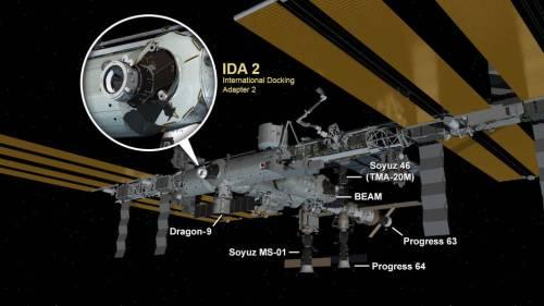 Configuration de la Station Spatiale Internationale au 19 août 2016. Cinq engins spatiaux sont stationnés à l'ISS : deux véhicules d'équipage Soyouz, deux cargos de ravitaillement Progress et un cargo Dragon. Le nouvel adaptateur d'accueil international a été installé au module Harmony (credits NASA)