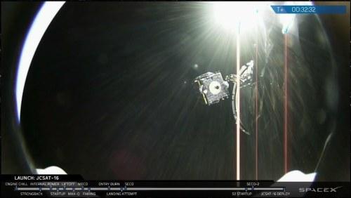 Déploiement du satellite JCSAT-16 de la Falcon 9 (source webcast SpaceX)