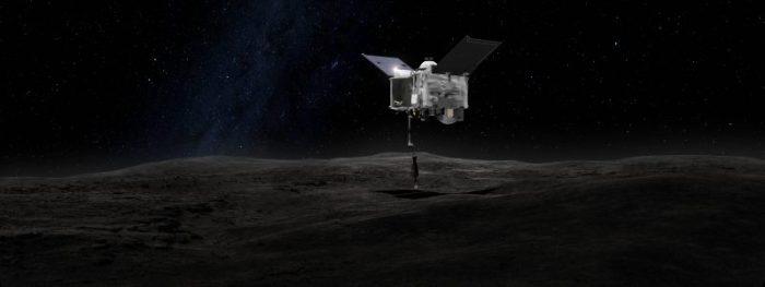 Image d'artiste de la mission OSIRIS-Rex de la NASA arrivée sur l'astéroïde Bennu (source NASA)