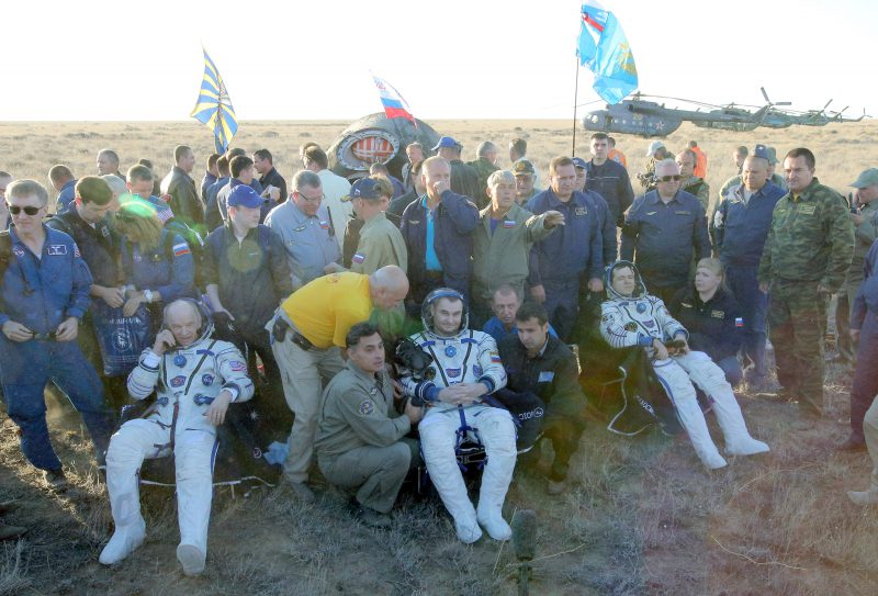 Space crew of the International Space Station  lands in Kazakhstan