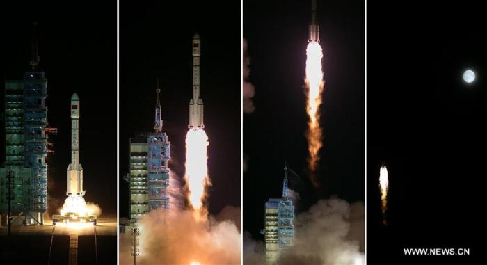 Lancement de Tiangong-2 le 15/09/2016 par une Long March 2F (credits Xinhua / Ju Zhenhua)