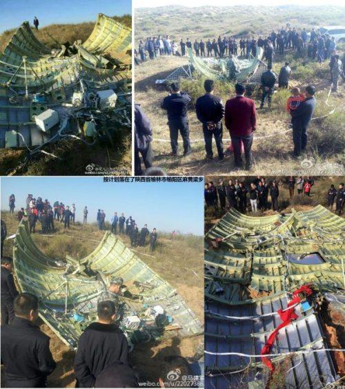 Retour sur terre de la coiffe de protection de Shenzhou-11 près de Yulin (via @wakka)