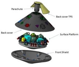 Schéma du module EDM Schiaparelli (credit Thales Alenia Space)
