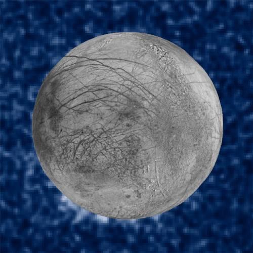 Cette image composite montre des panaches de vapeur d'eau en éruption au sud de la lune de Jupiter, Europe. Les panaches photographiés par le télescope spatial Hubble ont été vus en silhouette alors que la lune passe devant Jupiter. (credits NASA/ESA/W. Sparks (STScI)/USGS Astrogeology Science Center)
