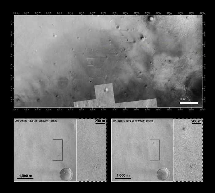En haut, mosaïque d'images de la caméra Context (CTX) de Mars Reconnaissance Orbiter et d'images de 2001 de Mars Odyssey Orbiter. En bas, images de MRO prises le 29 mai 2016 (à gauche) et 20 octobre 2016 (à droite) (Credits NASA/JPL-Caltech/MSSS, Arizona State University + NASA/JPL-Caltech/MSSS)