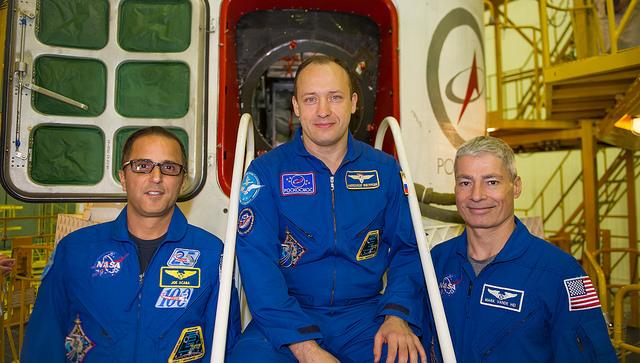 Expedition 53/54, (de gauche à droite) Joe Acaba, Alexander Misurkin et Mark Vande Hei