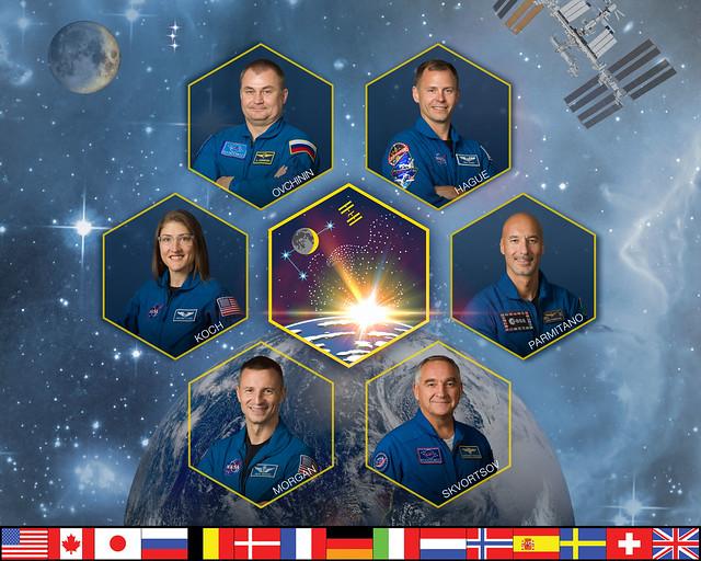 Expediton 60 : Aleksey Ovchinin, Nick Hague, Christina Koch, Aleksandr Skvortsov, Luca Parmitano et Andrew R. Morgan