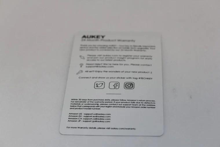 AUKEY 5ポートUSB充電器の保証書