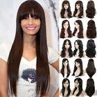 Long Straight Hair With Bangs Full Wig Heat Safe Fiber Black Brown Blonde Wigs N