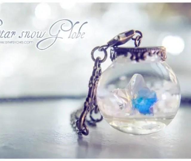 Snow Globe Necklace Christmas Jewelry Star Pendant Glass Orb Necklace Snow
