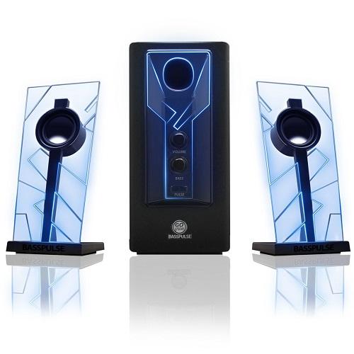 GOgroove BassPULSE Glowing Blue LED Computer Speaker Sound system