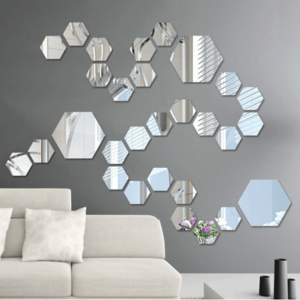 84. Hexagonal Decorative Mirror Sheet For Living Room Bedroom Decor-Best to buy things on aliexpress best sellers